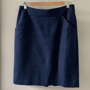 Navy jCrew pencil knee length skirt